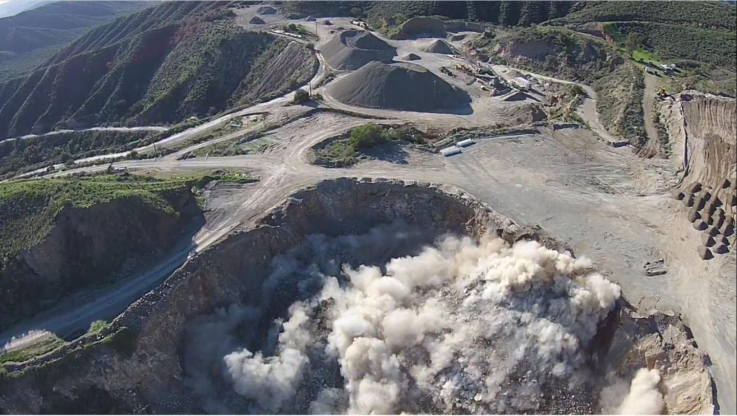 Drone image of exploding mine