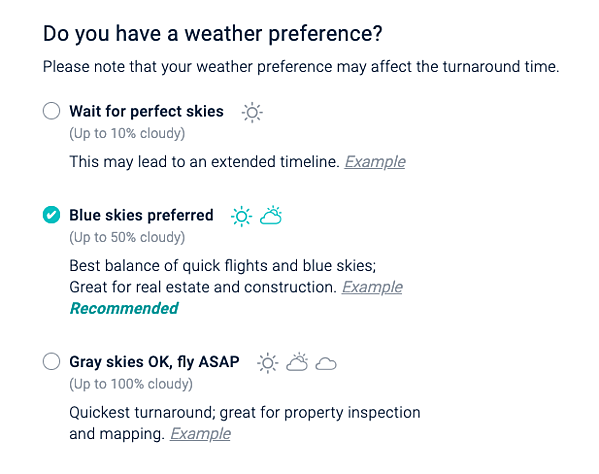DroneBase weather preference